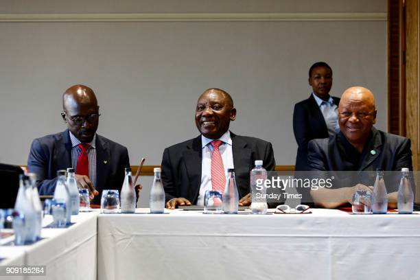 Deputy President Cyril Ramaphosa Finance Minister Malusi Gigaba and Minister in the Presidency Jeff Radebe during a preWorld Economic Forum breakfast...