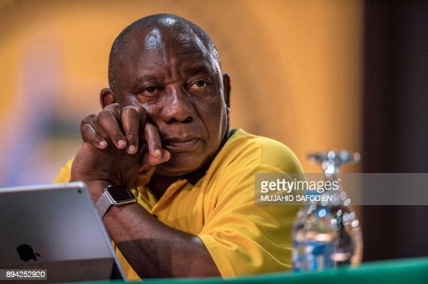 Deputy President Cyril Ramaphosa listens to delegates disputing votes during a plenary meeting at the NASREC Expo Centre during the 54th ANC national...