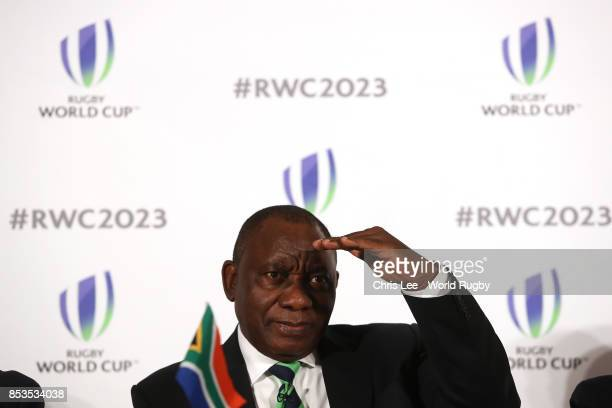 Deputy President of Republic of South Africa Cyril Ramaphosa during the Rugby World Cup 2023 Bid Presentations event at Royal Garden Hotel on...