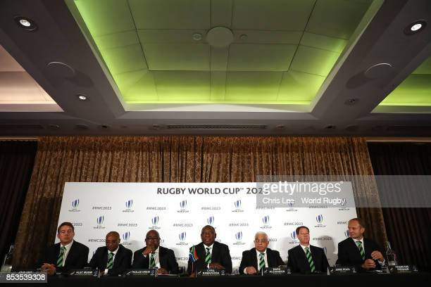 Deputy President of Republic of South Africa Cyril Ramaphosa talks to the media with South Africa Captain John Smit Director General for Sport and...