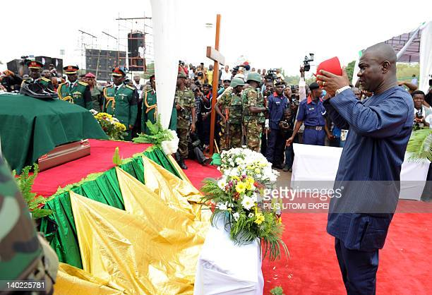 Deputy President of Senate and Speaker ECOWAS Paliament Ike Ekweremadu pays rest to Nigeria's seccessionist leader Odumegwu Ojukwu during the...