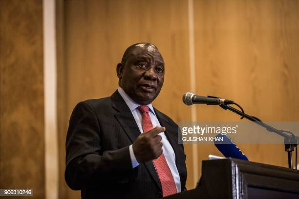 Deputy President of South Africa and newly elected African National Congress President Cyril Ramaphosa speaks during the PreWorld Economic Forum...