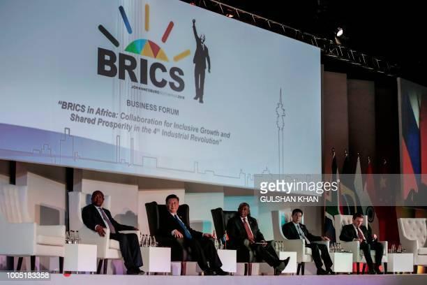 Deputy President of South Africa David Mabuza, President of China Xi Jinping, President of the Republic of South Africa Cyril Ramaphosa attend a...
