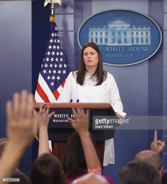 Deputy Press Secretary Sarah Huckabee Sanders speaks during a daily briefing at the James Brady Press Briefing Room of the White House on June 28,...