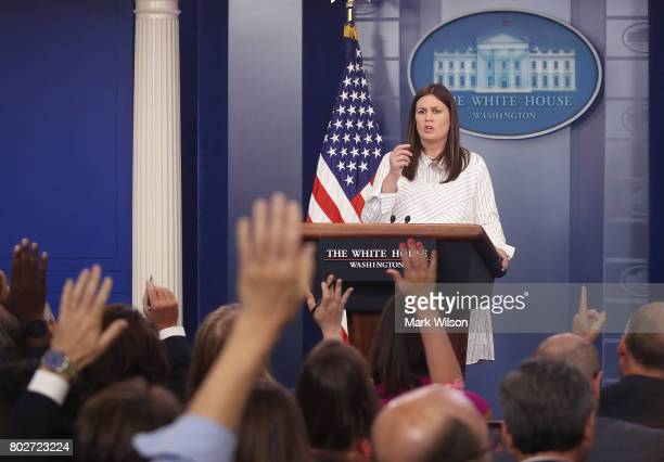 Deputy Press Secretary Sarah Huckabee Sanders speaks during a daily briefing at the James Brady Press Briefing Room of the White House on June 28...