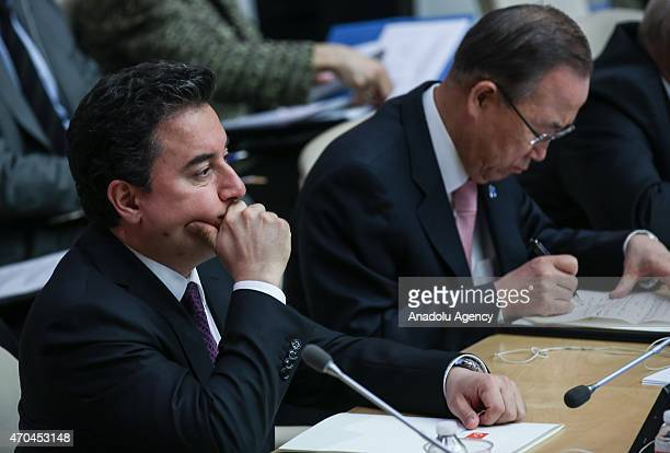 Deputy Prime Minister Ali Babacan and SecretaryGeneral of the United Nations Ban Kimoon attend the Special Highlevel Meeting of ECOSOC with World...