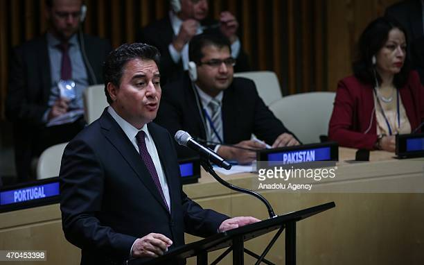 Deputy Prime Minister Ali Babacan speaks during Special Highlevel Meeting of ECOSOC with World Bank IMF WTO and UNCTAD with the overall theme of...