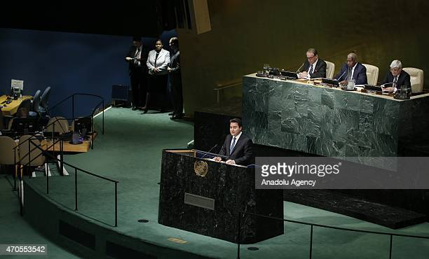 Deputy Prime Minister Ali Babacan speaks during Special Highlevel United Nations General Assembly meeting on promoting tolerance and countering...