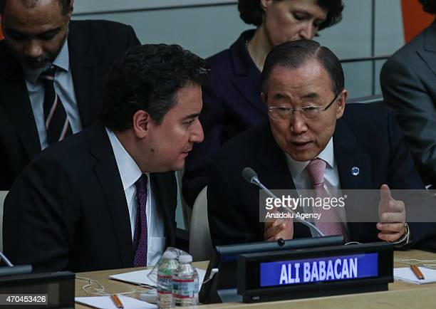 Deputy Prime Minister Ali Babacan speaks with SecretaryGeneral of the United Nations Ban Kimoon during Special Highlevel Meeting of ECOSOC with World...