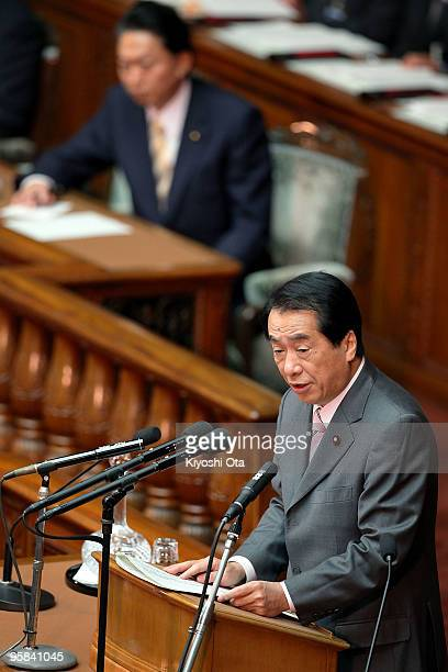Deputy Prime Minister and Finance Minister Naoto Kan delivers a speech during the 174th ordinary Diet session at the Lower House on January 18 2010...