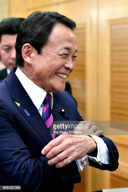Deputy Prime Minister and Finance Minister Taro Aso speaks during the foundation meeting of the ruling Liberal Democratic Party new faction...