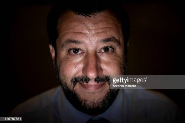 Deputy Prime Minister and Interior Minister Matteo Salvini attends a press conference at the Interior Ministry headquarters on May 28 2019 in Rome...
