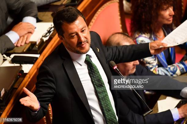 Deputy Prime Minister and Interior Minister Matteo Salvini delivers as speech at the Italian Senate in Rome on August 20 as the country faces a...