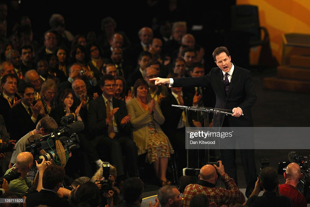 Deputy Prime Minister and leader of the Liberal Democrats Nick Clegg delivers his keynote speech at the Liberal Democrat Autumn Conference at the International Convention Centre (ICC) on September 21, 2011 in Birmingham, England. Today is the last day of the 5-day conference.