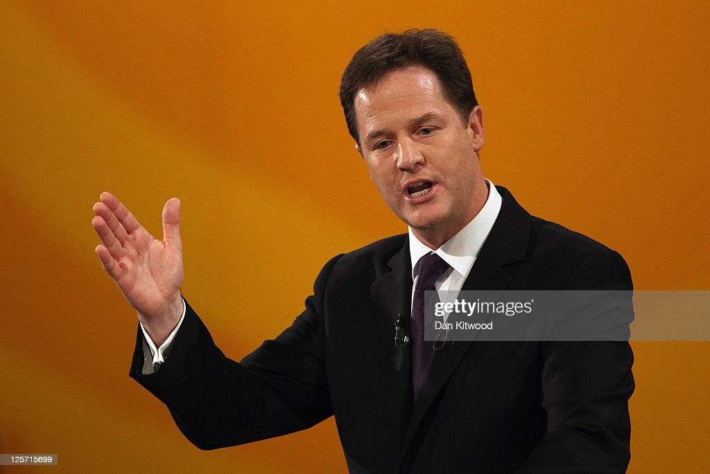 Deputy Prime Minister and leader of the Liberal Democrats Nick Clegg delivers his keynote speach during the Liberal Democrat Autumn Conference at the International Convention Centre (ICC) on September 21, 2011 in Birmingham, England. Today is the last day of the 5-day conference which culminated in party leader and Deputy Prime Minister Nick Clegg's keynote speech.