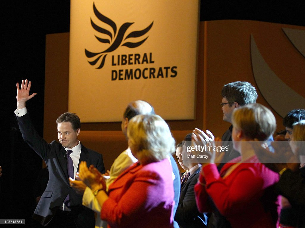 Deputy Prime Minister and leader of the Liberal Democrats Nick Clegg arrives to give his leaders speech at the Liberal Democrat Autumn Conference at the International Convention Centre (ICC) on September 21, 2011 in Birmingham, England. Today is the last day of the 5-day conference which culminated in party leader and Deputy Prime Minister Nick Clegg's keynote speech.