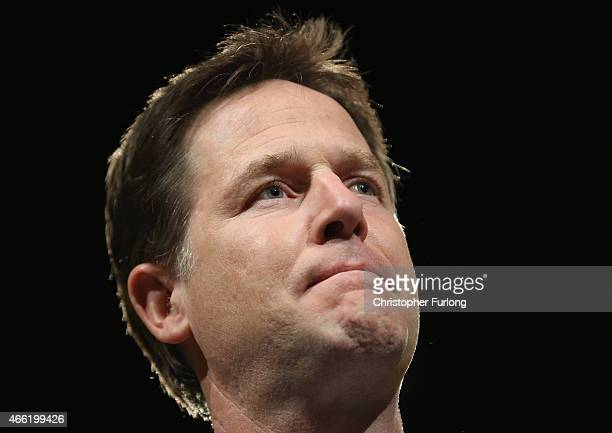 Deputy prime minister and Leader of the Liberal Democrats Nick Clegg takes part in a question and answer session with delegates during party's spring...