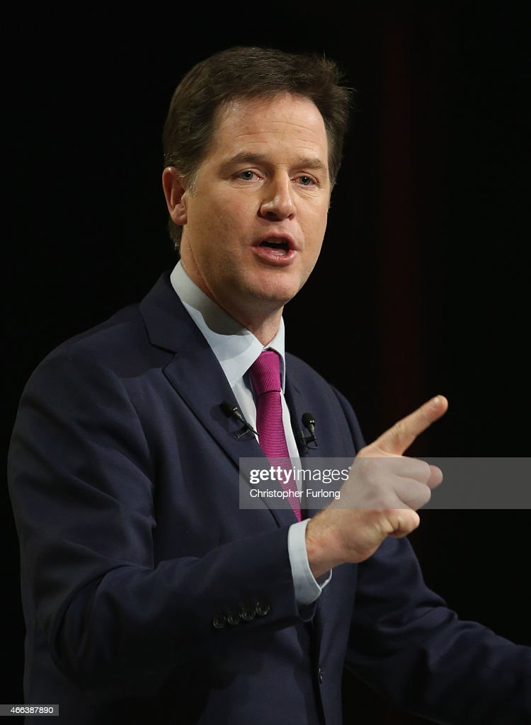 Deputy prime minister and Leader of the Liberal Democrats Nick Clegg delivers his keynote speech during the party's spring conference at the ACC on March 15, 2015 in Liverpool, England. Deputy Prime Minister Nick Clegg is expected to rally members and that the Lib Dems will do 'better than anyone thinks' during the general election on 7th May.