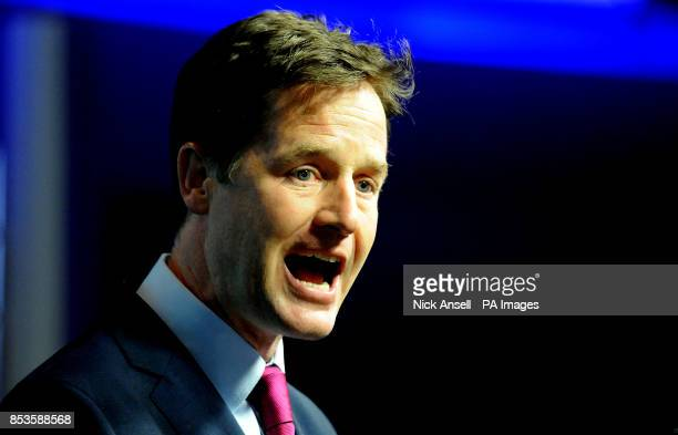 Deputy Prime Minister and leader of the Liberal Democrats Nick Clegg speaks at Bloomberg central London where he announced that the Liberal Democrats...