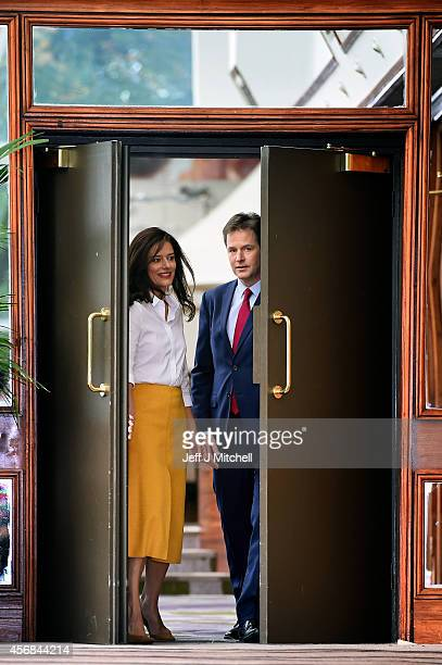 Deputy Prime Minister and Liberal Democrat leader Nick Clegg arrives with his wife Miriam Gonzalez Durantez to deliver his keynote speech on the last...