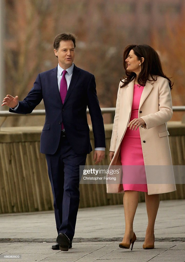 Deputy Prime Minister and Liberal Democrat leader Nick Clegg arrives with his wife Miriam Gonzalez Durantez to deliver his keynote speech to delegates during the party's spring conference at the ACC on March 15, 2015 in Liverpool, England. Deputy Prime Minister Nick Clegg is expected to rally members and that the Lib Dems will do 'better than anyone thinks' during the general election on 7th May.