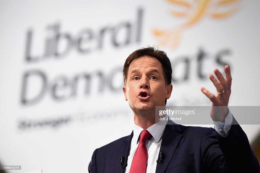 Deputy Prime Minister Nick Clegg Delivers His Keynote Speech At The Liberal Democrat Party Conference : News Photo