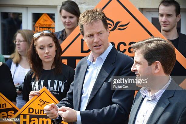 Deputy Prime Minister and Liberal Democrat leader Nick Clegg talks with supporters during a visit to the Chippenham constituency of Liberal Democrat...