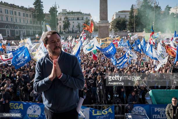 Deputy prime minister and minister for Interior affairs Matteo Salvini greets the crowd at a demonstration of La Lega on December 8 2018 in Rome...