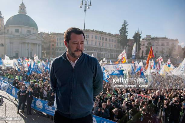 Deputy prime minister and minister for Interior affairs Matteo Salvini greets the crowd at a demonstration of the Lega party at Piazza del Popolo on...