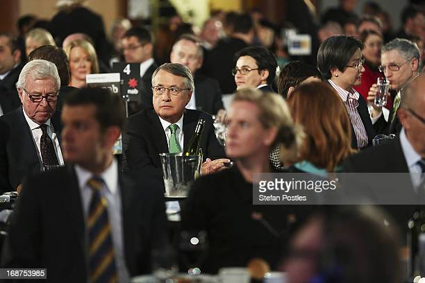 Deputy Prime Minister and Treasurer Wayne Swan sits down before delivering his post Budget Press Club address in the Great Hall on May 15 2013 in...