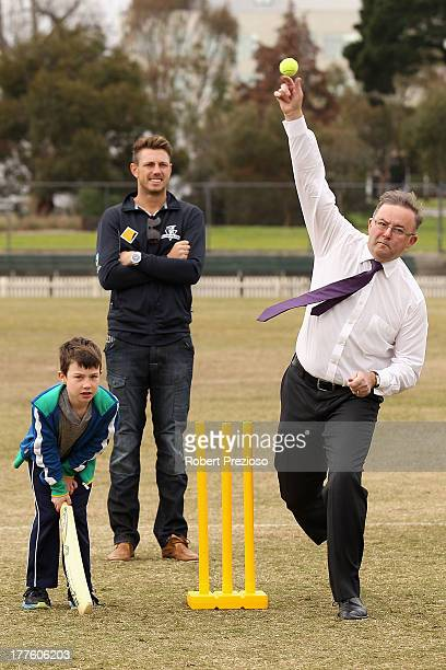Deputy Prime Minister Anthony Albanese bowls during a Cricket Australia announcement at Junction Oval on August 25 2013 in Melbourne Australia