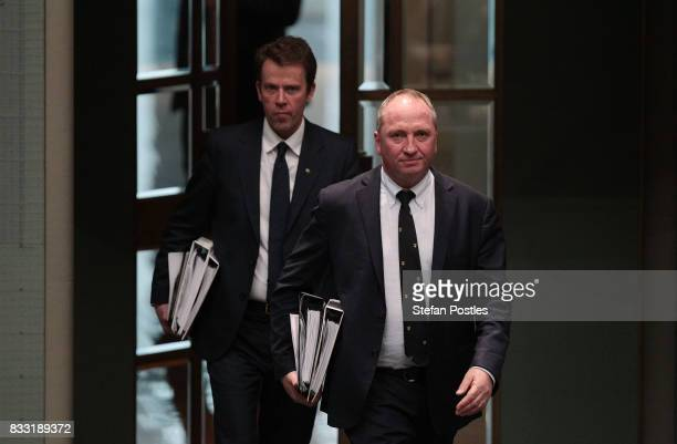 Deputy Prime Minister Barnaby Joyce arrives at House of Representatives question time at Parliament House on August 17 2017 in Canberra Australia...