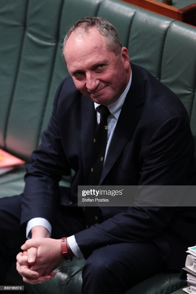 Deputy Prime Minister Barnaby Joyce during House of Representatives question time at Parliament House on August 17, 2017 in Canberra, Australia. Justice Minister is the latest MP to have questions raised over his possible dual citizenship following revelations on Monday that deputy Prime Minister was a dual Australian and New Zealand citizen. Dual citizenship, which is prohibited for members of Parliament under the constitution, has already forced two Greens senators - Scott Ludlum and Larissa Waters - to quit and Nationals senator Matt Canavan to resign as resources minister.