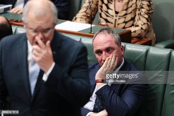 Deputy Prime Minister Barnaby Joyce during House of Representatives question time at Parliament House on October 25, 2017 in Canberra, Australia. The...