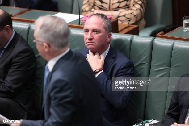 Deputy Prime Minister Barnaby Joyce during House of Representatives question time at Parliament House on October 25 2017 in Canberra Australia The...