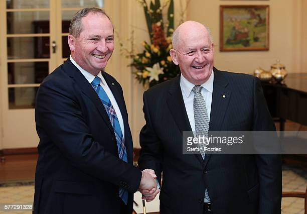 Deputy Prime Minister Barnaby Joyce is sworn in by GovernorGeneral of Australia Peter Cosgrove at the swearingin ceremony at Government House on July...