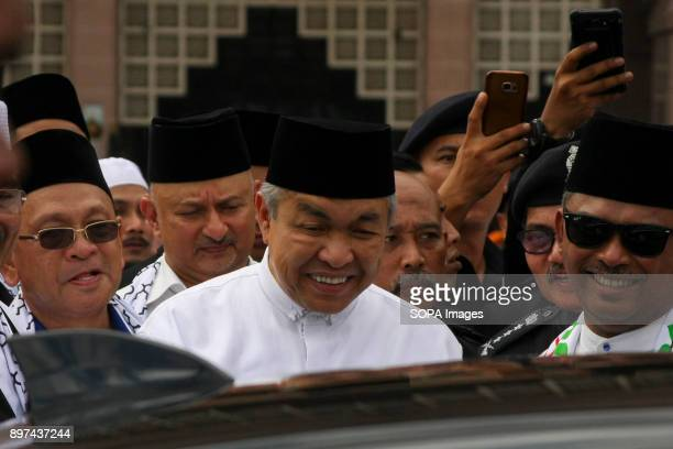 Deputy Prime Minister Datuk Seri Zahid Hamidi seen before leaving the solidarity rally Hundred of Malaysian people had gathered at Putrajaya Mosque...