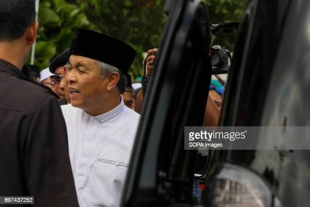 Deputy Prime Minister Datuk Seri Zahid Hamidi seen leaving the solidarity rally Hundred of Malaysian people had gathered at Putrajaya Mosque to...