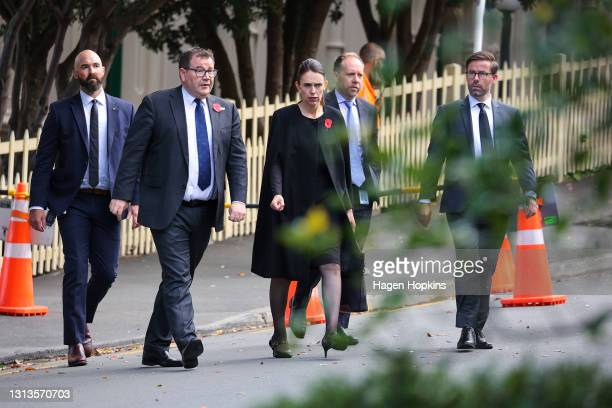 Deputy Prime Minister Grant Robertson and Prime Minister Jacinda Ardern arrive at the State Memorial Service for Prince Philip, Duke of Edinburgh, at...