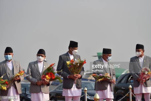 Deputy Prime Minister Ishwar Pokharel, National Assembly Chairman Ganesh Prasad Timalsina, Speaker Agni Sapkota, Prime Minister KP Sharma Oli and...