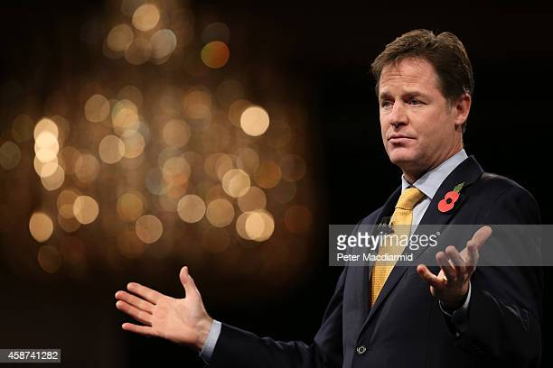 Deputy Prime Minister Nick Clegg addresses The Confederation of British Industry annual conference on November 10 2014 in London England The CBI is...