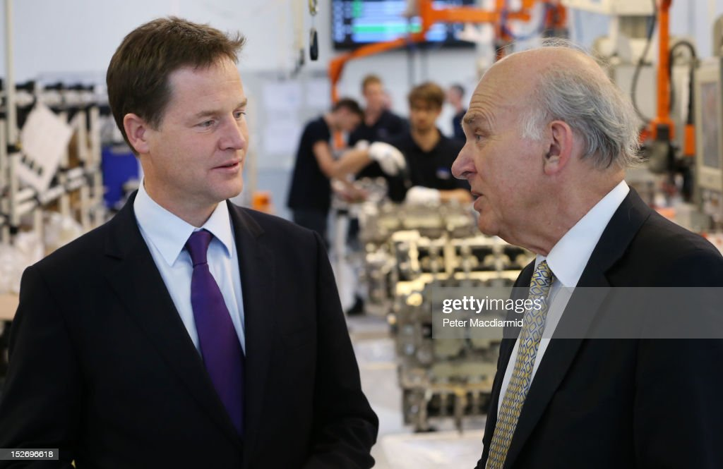 Deputy Prime Minister Nick Clegg (L) and Business Secretary Vince Cable visit the Ricardo Engine Assembly plant on September 24, 2012 in Shoreham-by-Sea, England. Later the Business Secretary Vince Cable will announce a new bank to enable easier lending to businesses.