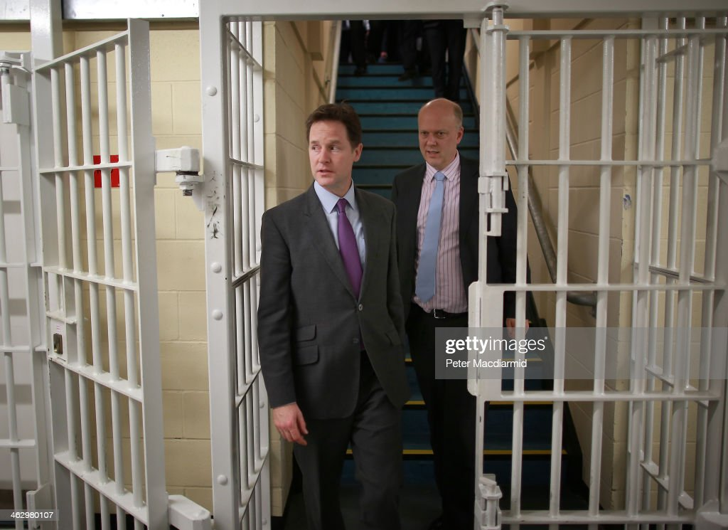 Deputy Prime Minister Nick Clegg And Justice Secretary Chris Grayling Visit Young Offenders Prison : News Photo