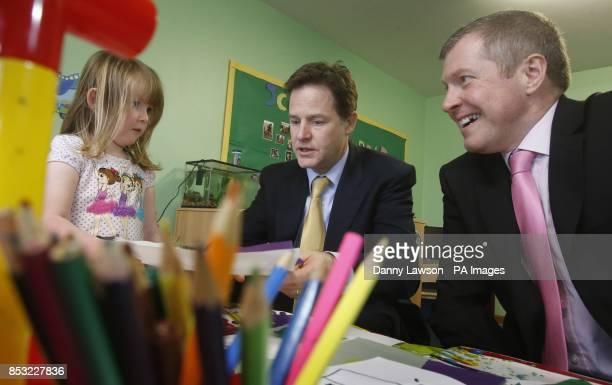 Deputy Prime Minister Nick Clegg and Scottish Liberal Democrat leader Willie Rennie during a visit to Banbury Cross Nursery in Aberdeen Scotland...