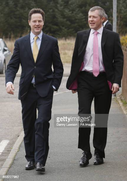 Deputy Prime Minister Nick Clegg and Scottish Liberal Democrat leader Willie Rennie arriving for a visit to Banbury Cross Nursery in Aberdeen...