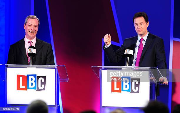 Deputy Prime Minister Nick Clegg and UKIP leader Nigel Farage, take part in a debate over Britain's future in the European Union, hosted by LBC's...