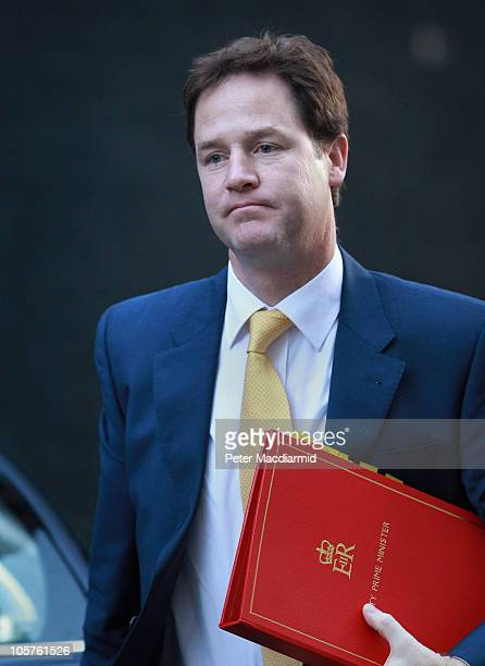 Deputy Prime Minister Nick Clegg arrives for a Cabinet meeting in Downing Street on October 20 2010 in London England Chancellor of the Exchequer...