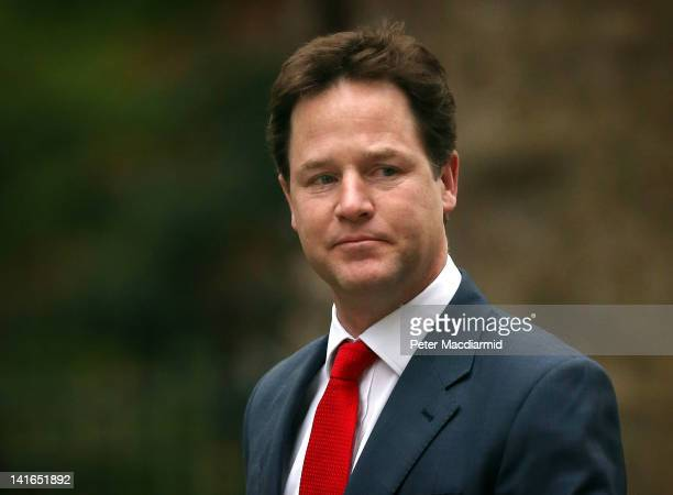 Deputy Prime Minister Nick Clegg arrives for a prebudget Cabinet meeting in Downing Street on March 21 2012 in London England Despite increasing...