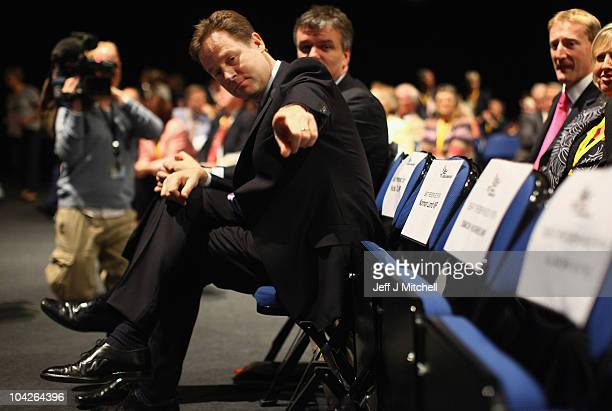 Deputy Prime Minister Nick Clegg attends the Liberal Democrat Conference at the ACC Liverpool conference center on September 19 2010 in Liverpool...