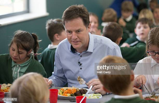 Deputy Prime Minister Nick Clegg chats with children at Ivy Lane Primary School as he canvasses with local Liberal Democrat candidate for Chippenham...